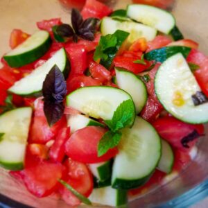 Cucumber and tomato salad with fresh herbs