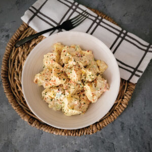 potato salad prepared and in the bowl ready to be eaten