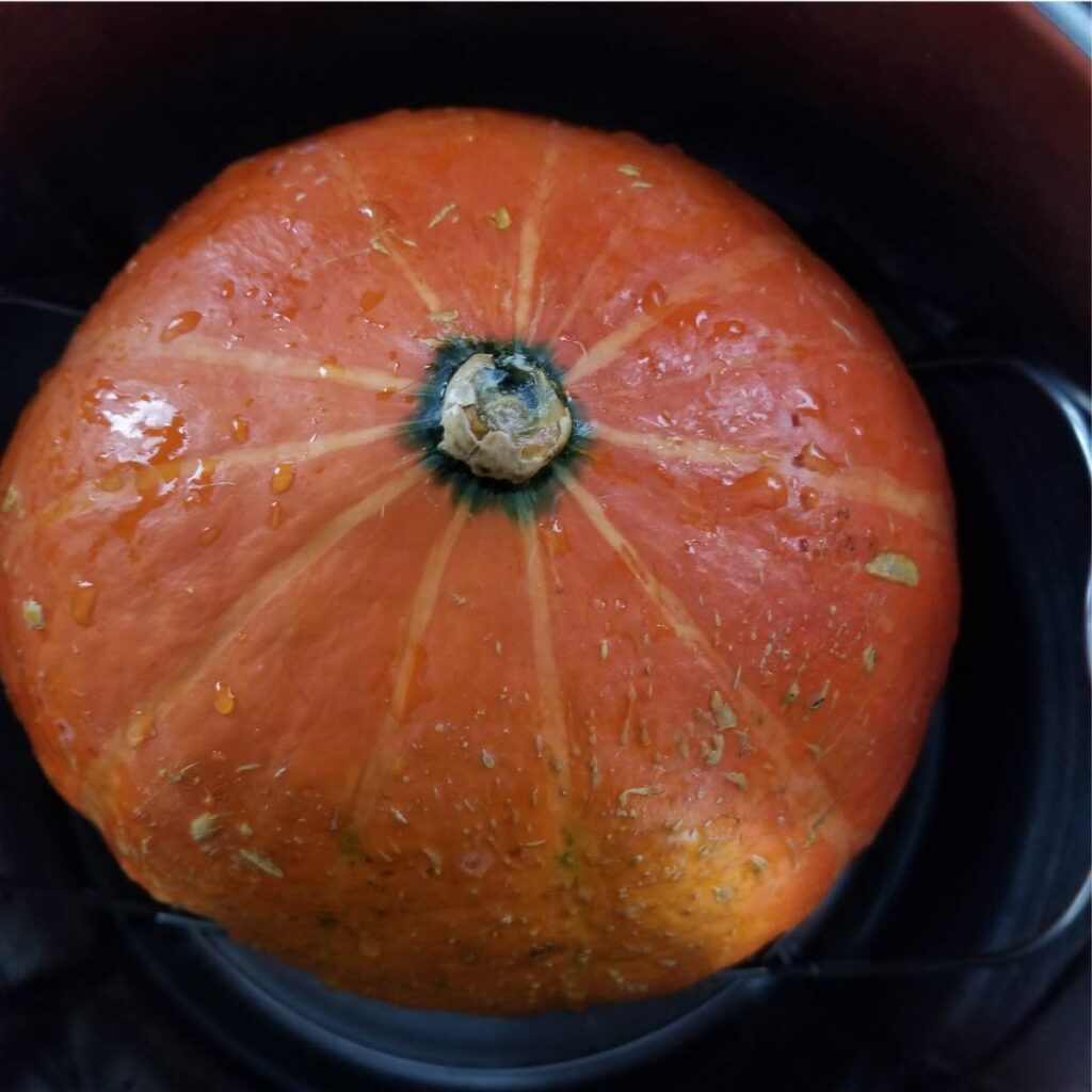 Red kuri squash washed and in the Instant Pot ready to cook