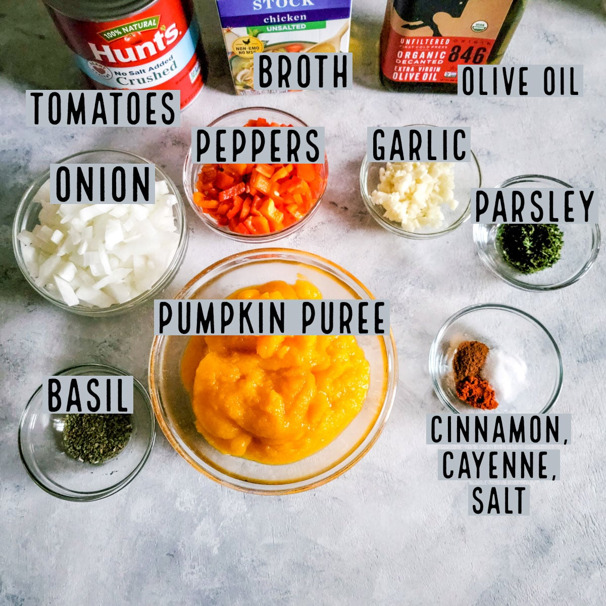 Picture for all ingredients with them ready in prep bowls.