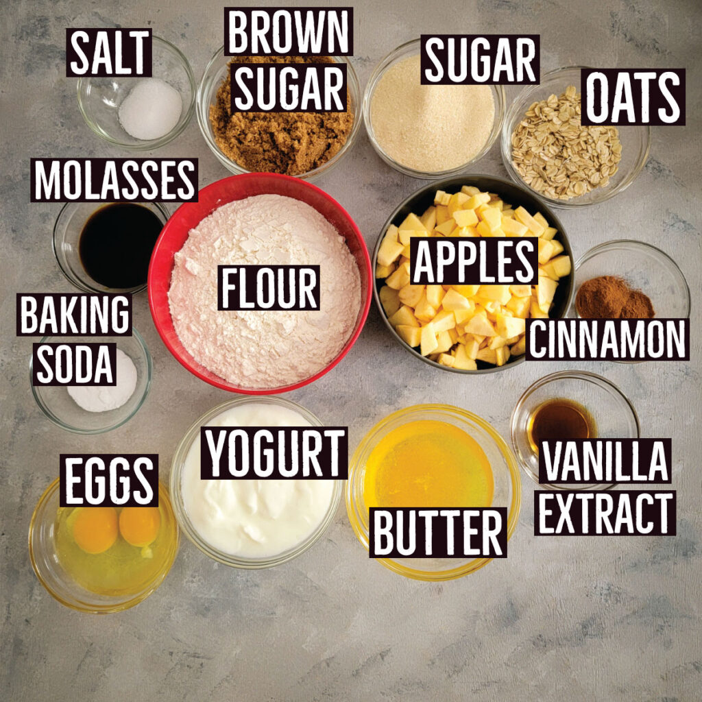 The ingredients for the cake in prep bowls - salt, brown sugar, sugar, oats, molasses, flour, apples, cinnamon, baking soda, eggs, yogurt, butter and vanilla extract.